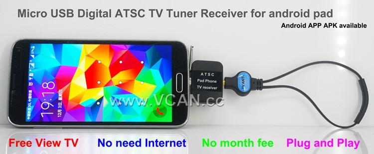 ATSC USB TV stick mobile phone use tuner USA Canada Mexico micro usb android phone pad ATSC-77 18