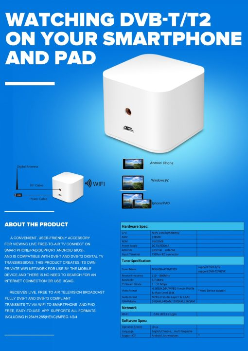 WIFI ISDB-T DVB-T2 Wireless Digital TV box for Android phone or Pad for Car outdoor Home 2