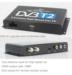 Car DVB-T2 H265 HEVC Codec Digital TV Receiver Auto Mobile Germany Standard 2 antenna H264 HD for all dvb country 15