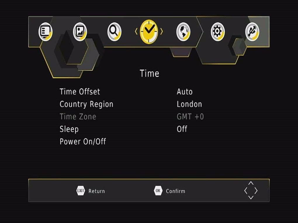 DVB-T265 Time OSD menu