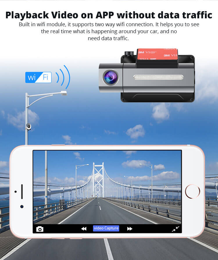 Android Dash Cam Car DVR Camera GPS Logger 3G WiFi Dual Lens WDR Video Recorder 5.1 Rearview camera Vcan1608 7
