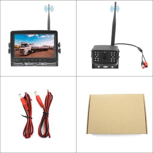 7 inch quad monitor wireless camera DVR for auto mobile truck Vehicle screen rear view monitor reverse backup recorder wifi camera 2