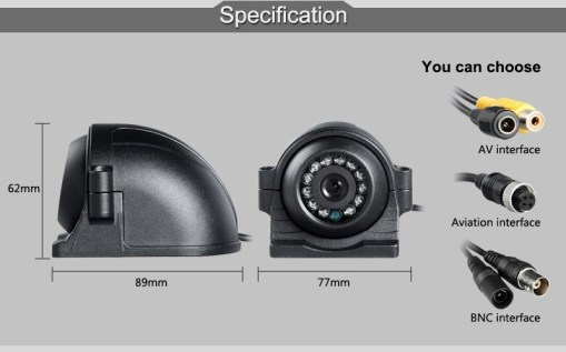 12V 4 Pin Metal IR Night Vision Waterproof Car Rear Side Front View Reverse Backup Camera for Bus Truck Van 4