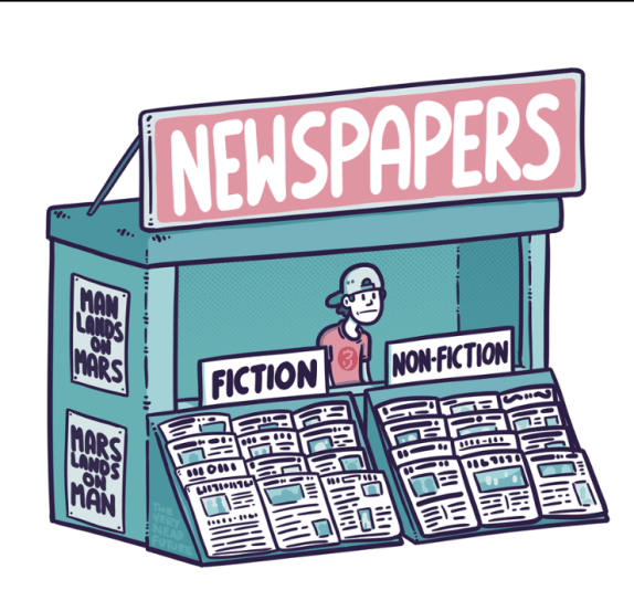 "Newspaper stand with half of the papers labelled ""fiction"""