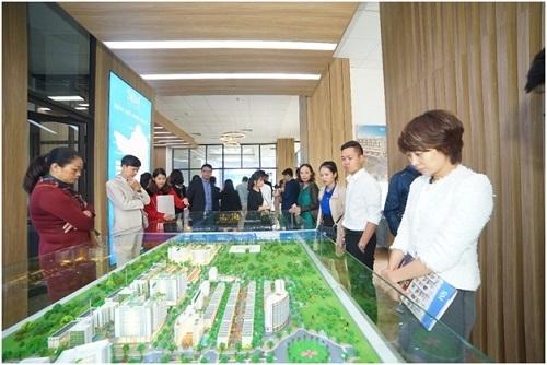 Văn phòng kinh doanh của Sim Island trưng bày các sản phẩm trong dự án của đơn vị.