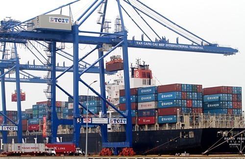 Bốc dỡ container tại Tân Cảng - Cái Mép (TP HCM). Ảnh: Q.H