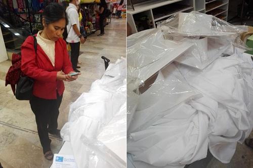 Cô Diaz trong cửa hàng bán trang phục cử nhân. Ảnh: Facebook
