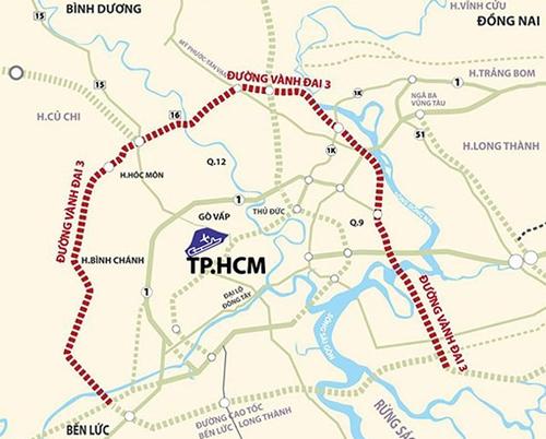 Sơ đồ hướng tuyến đường Vành đai 3 TP HCM.