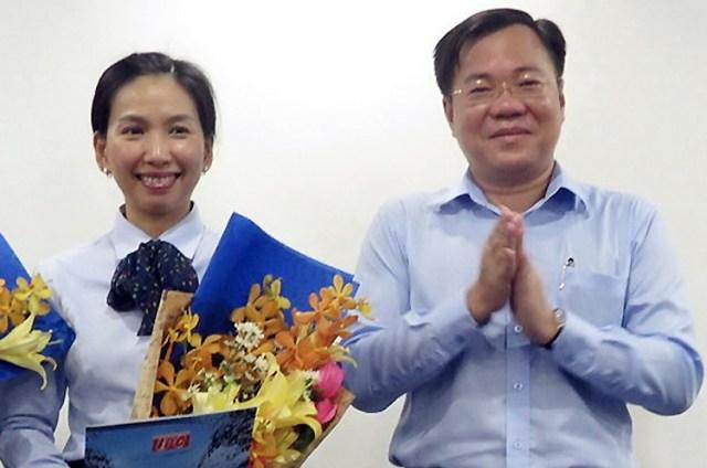 Bà Hồ Thị Thanh Phúc (trái) và Tề Trí Dũng hồi năm 2017. Ảnh: C.T.V