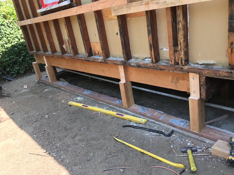 Foundation bolting on a san francisco area home for earthquakes