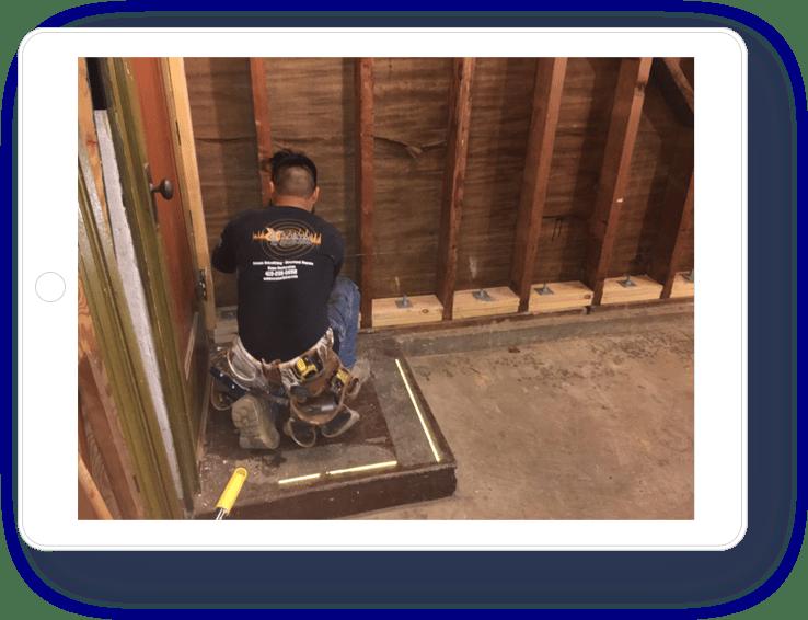 VCE worker in retrofit construction