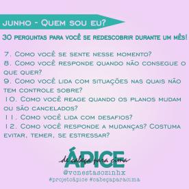 Projeto Ápice 30 perguntas sobre autoconhecimento