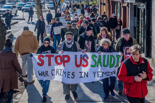 Marching up First Avenue in front of U.S. and Saudi Missions to the UN, demanding an end to the scourge of warfare in Yemen