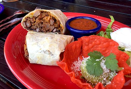 Carne asada burrito  with Spanish rice and black beans