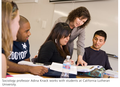 Sociology professor Adina Knack works with students at California Lutheran University.
