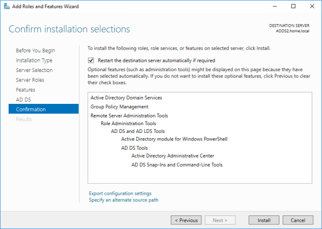 Windows Server 2016 ADDS Active Directory Domain Services in an existing domain