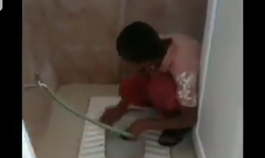 "After a video of children torture in Al-Bab prison… a second video of children being employed in cleaning the ""toilets"" with their nails in Afrin"