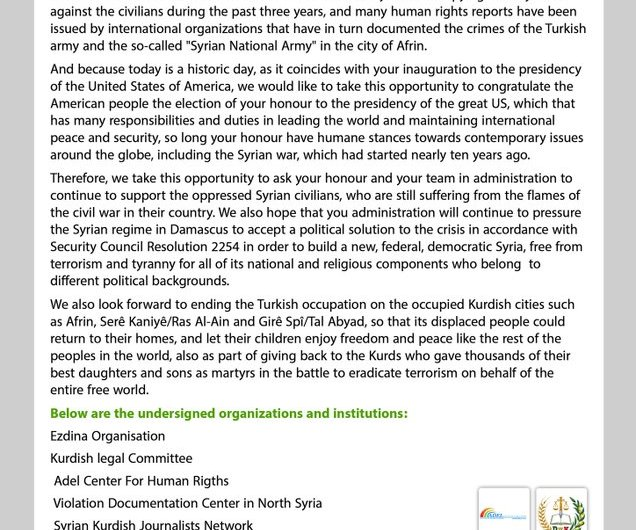 Civil society and human rights organizations send a letter to President Joe Biden