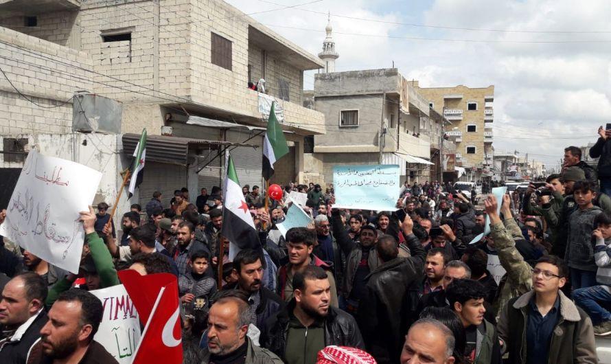 تظاهرات شعبية ضد المجالس المحلية التركية شمال سوريا