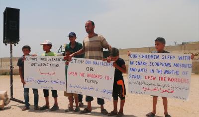 تركيا تحرض نازحيي ادلب للتظاهر ضد أوربا وابتزازها بالهجرة