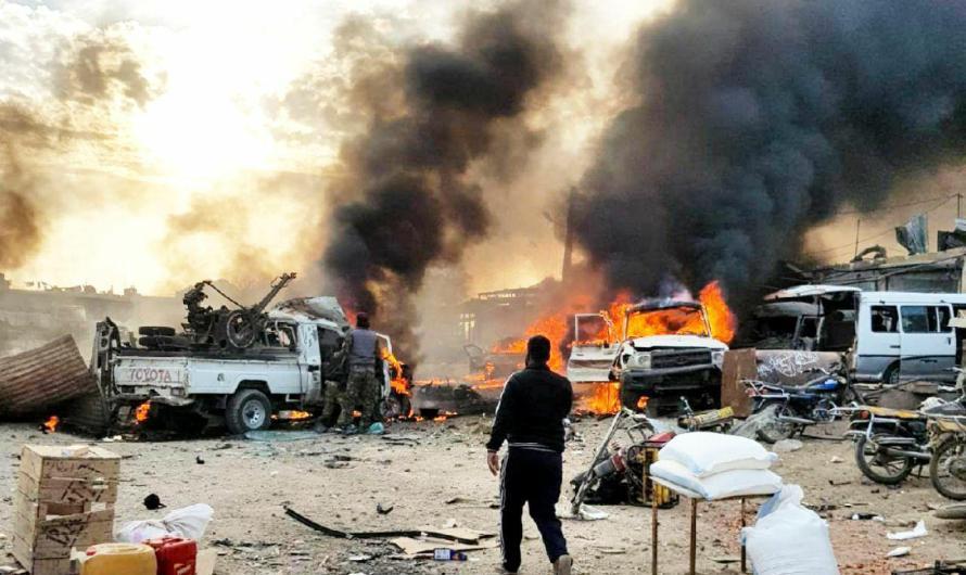 انفجار ضخم يستهدف تجمعا لمسلحي الجيش الوطني الموالي لتركيا قرب بلدة رأس العين