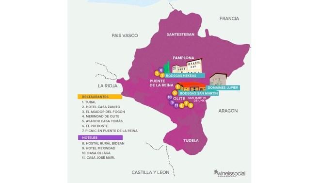 enoturismo mapa Navarra