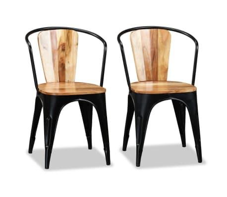 vidaxl chaise de salle a manger 2 pcs bois d acacia massif