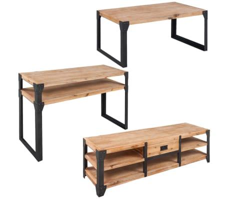 vidaxl mobilier de salon 3 pieces bois d acacia massif