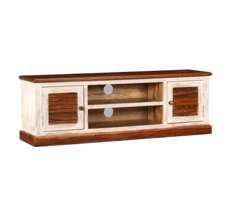 vidaxl meuble tv bois massif de manguier et sesham 120 x 30 x 40 cm