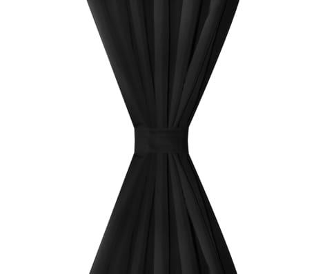 2 pcs rideau a passant micro satin noir 140 x 225 cm