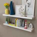 Vidaxl 2 White Mdf Floating Wall Display Shelves Book Dvd Storage