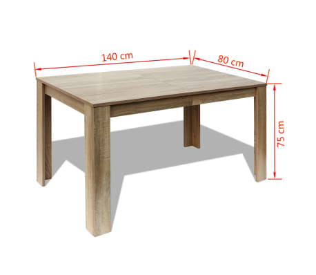 vidaxl table de salle a manger 140 x 80 x 75 cm chene