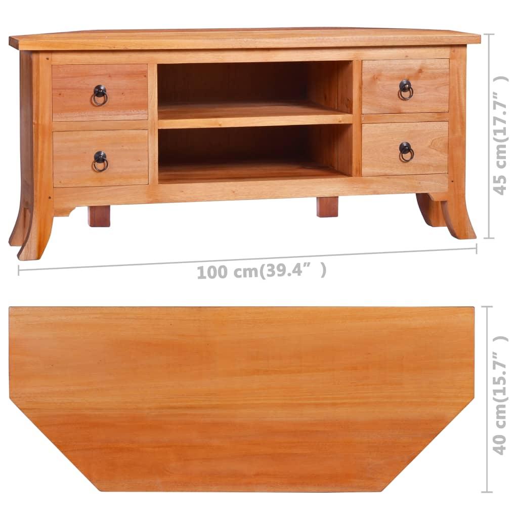 meuble tv 100x40x45cm bois d acajou massif