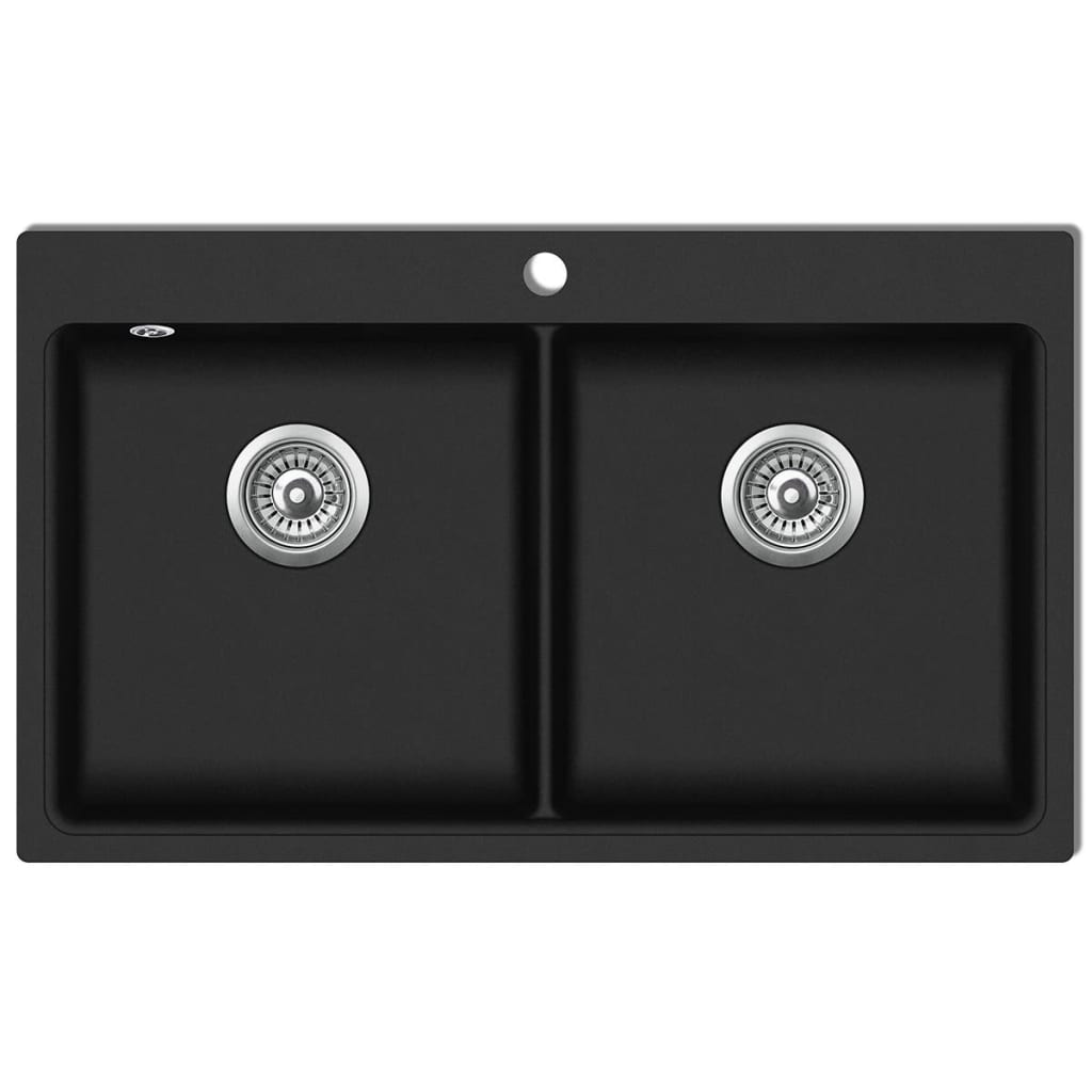Overmount Kitchen Sink Double Basin Granite Black VidaXL