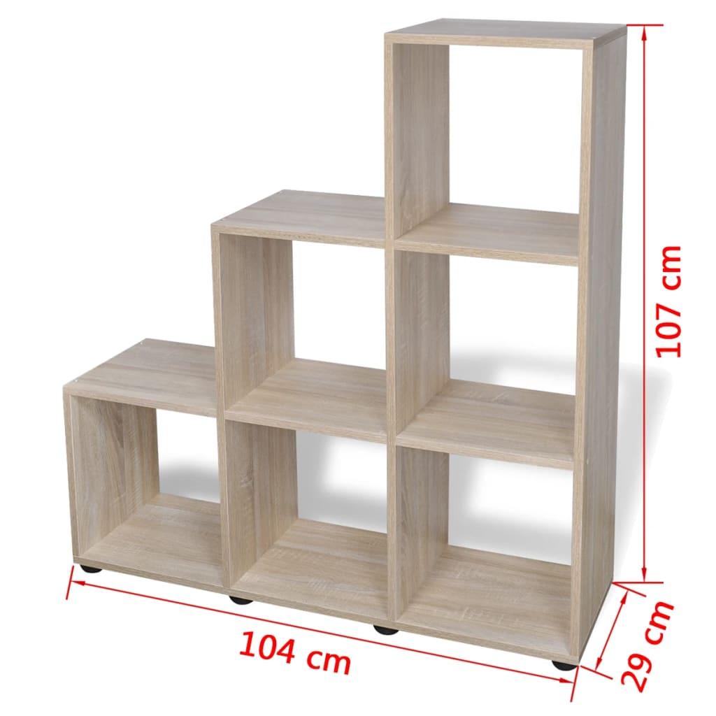 6 sur 8 vidaxl etagere bibliotheque 6 compartiments 107 cm chene meuble de rangement 7 sur 8 voir plus
