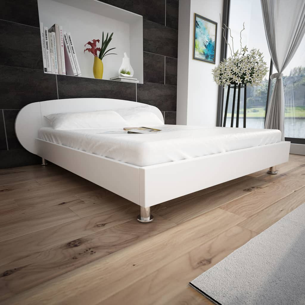 5ft King Size 150x200 Cm Artificial Leather White Bed