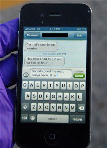 This April 3, 2013 photo provided by the Greeley Police shows the text message University of Northern Colorado student Alexander Heit was typing to an unidentified person when police say he lost control of his car and ran off the road.  He was taken to North Colorado Medical Center where he later died. Now his parents are hoping to convince others not to text and drive. The name of the message's recipient was redacted by the Greeley Police to protect the recipient's identity. (AP Photo/Greeley Police)