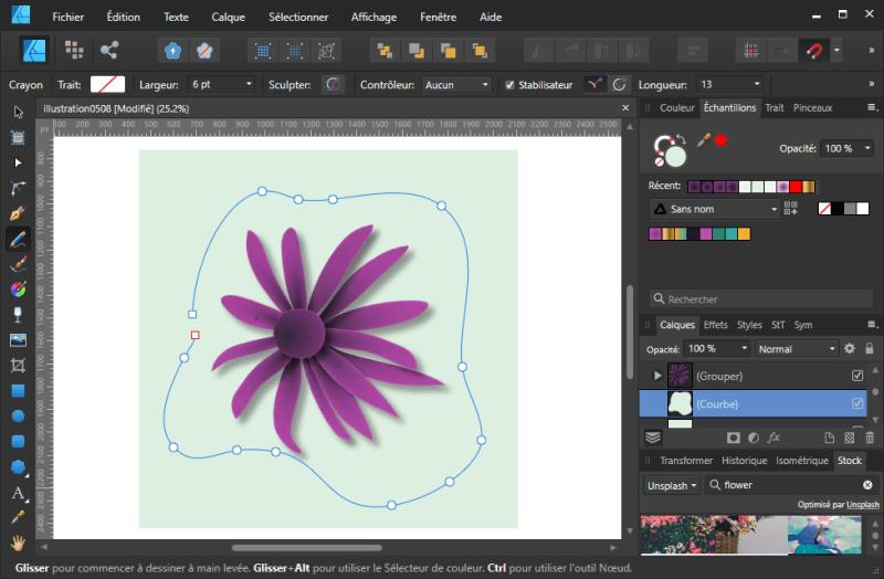 Tuto Affinity Designer : Dessiner une forme quelconque au centre avec le Crayon (15)