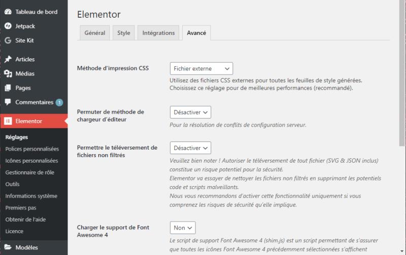 Elementor Pro dans la barre latérale WordPress : Avancé