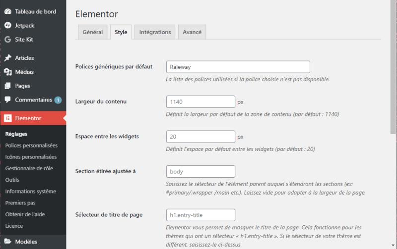 Elementor Pro dans la barre latérale WordPress : Style
