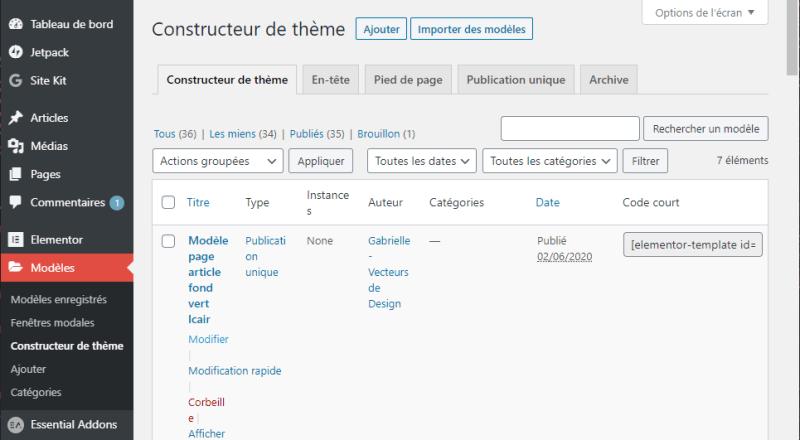 Modèles dans la barre latérale WordPress : Constructeur de thème