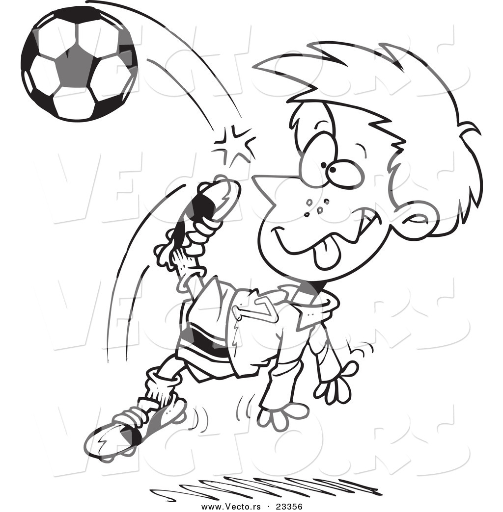 Cartoon Vector Of Cartoon Boy Doing A Soccer Kick