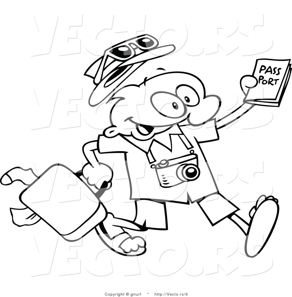Vector Line Drawing Of A Happy Cartoon Traveling Guy