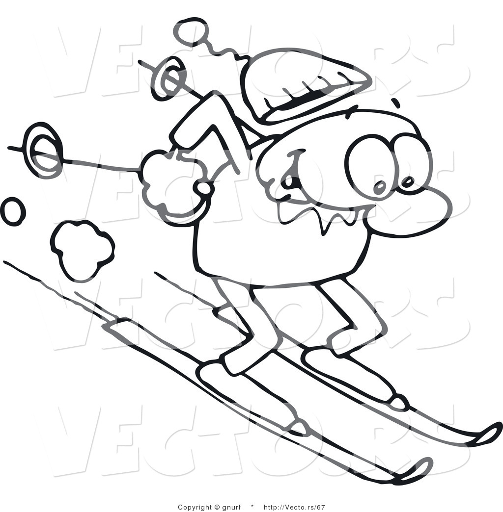 Vector Line Drawing Of A Happy Man Winter Skiing Down A