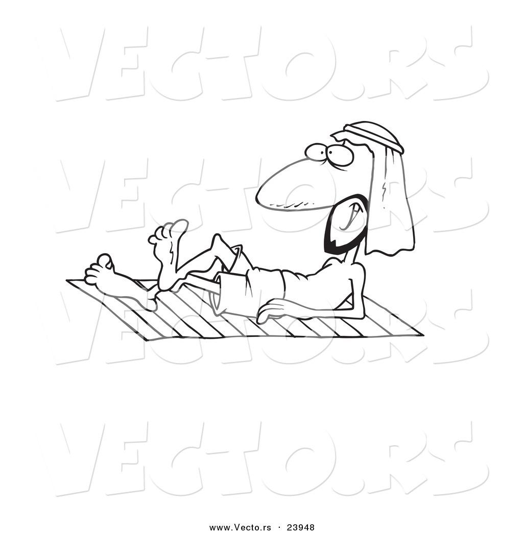 Vector Of A Cartoon Arabian Man Sun Bathing