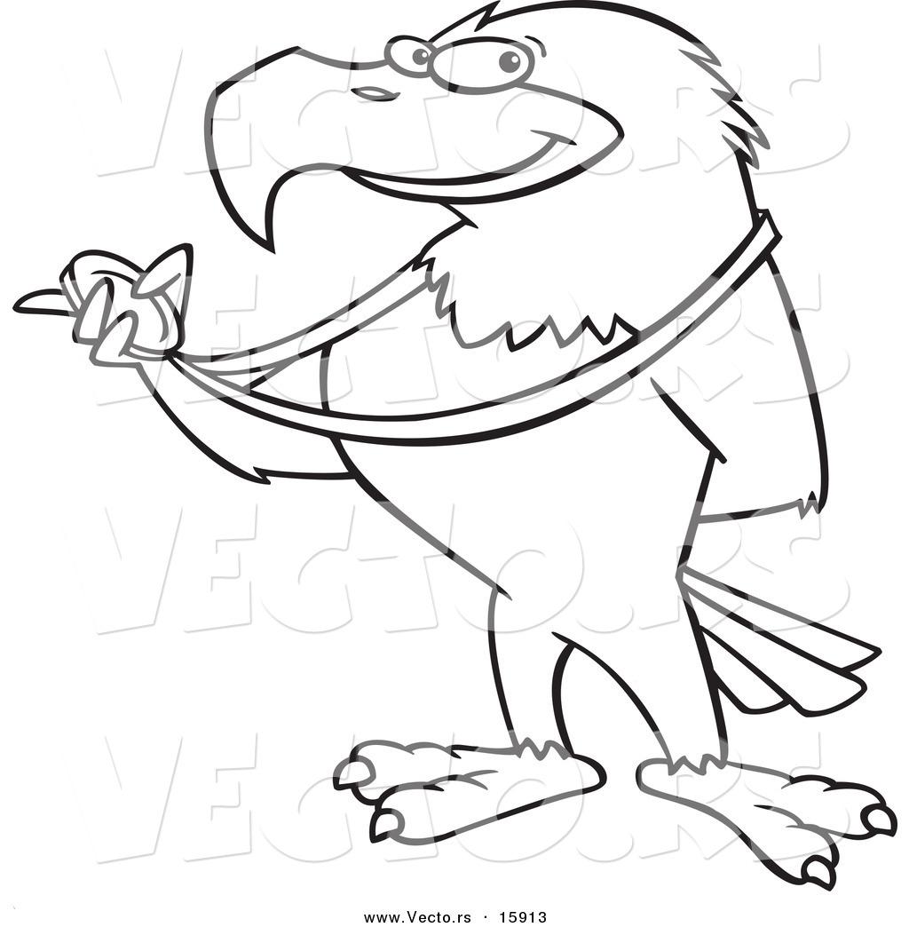 Vector Of A Cartoon Bald Eagle Holding A Medal