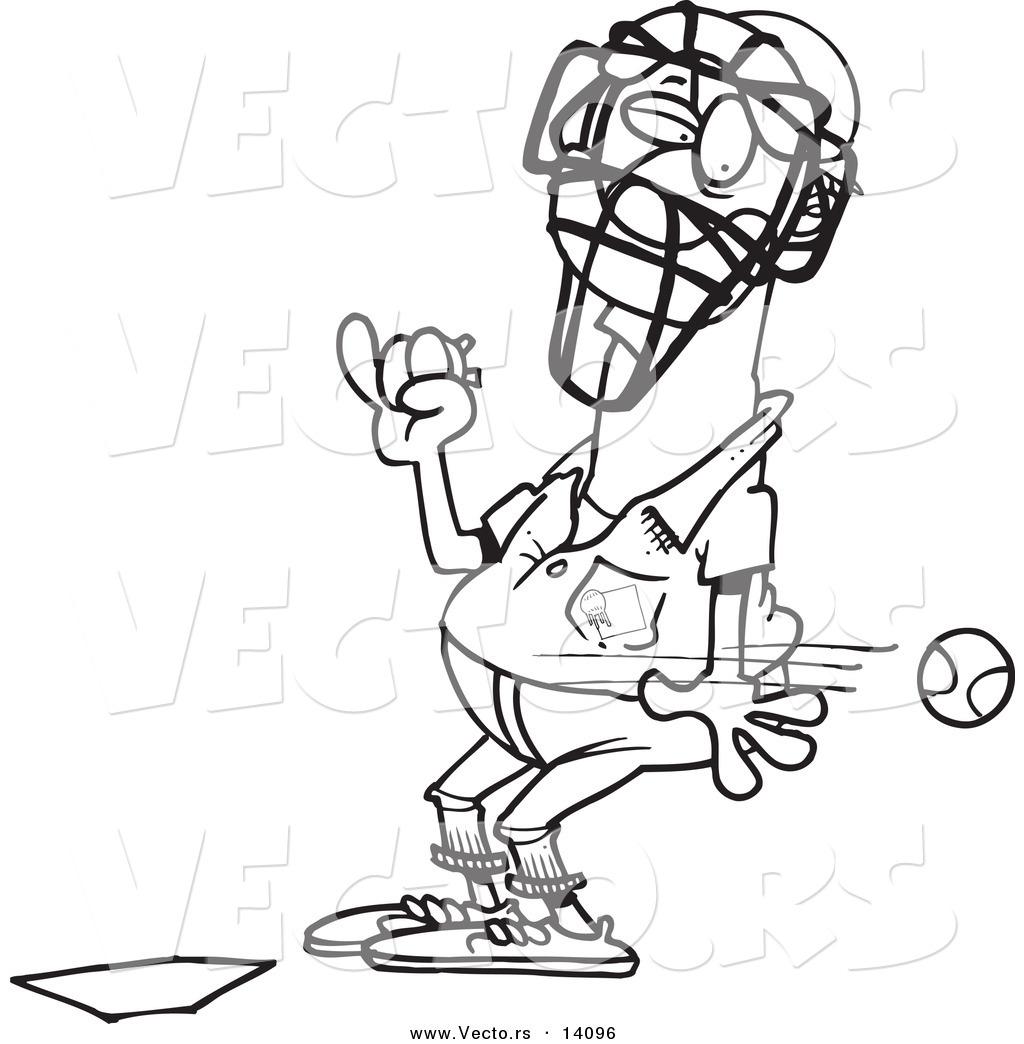 Vector Of A Cartoon Baseball Flying Past An Umpire