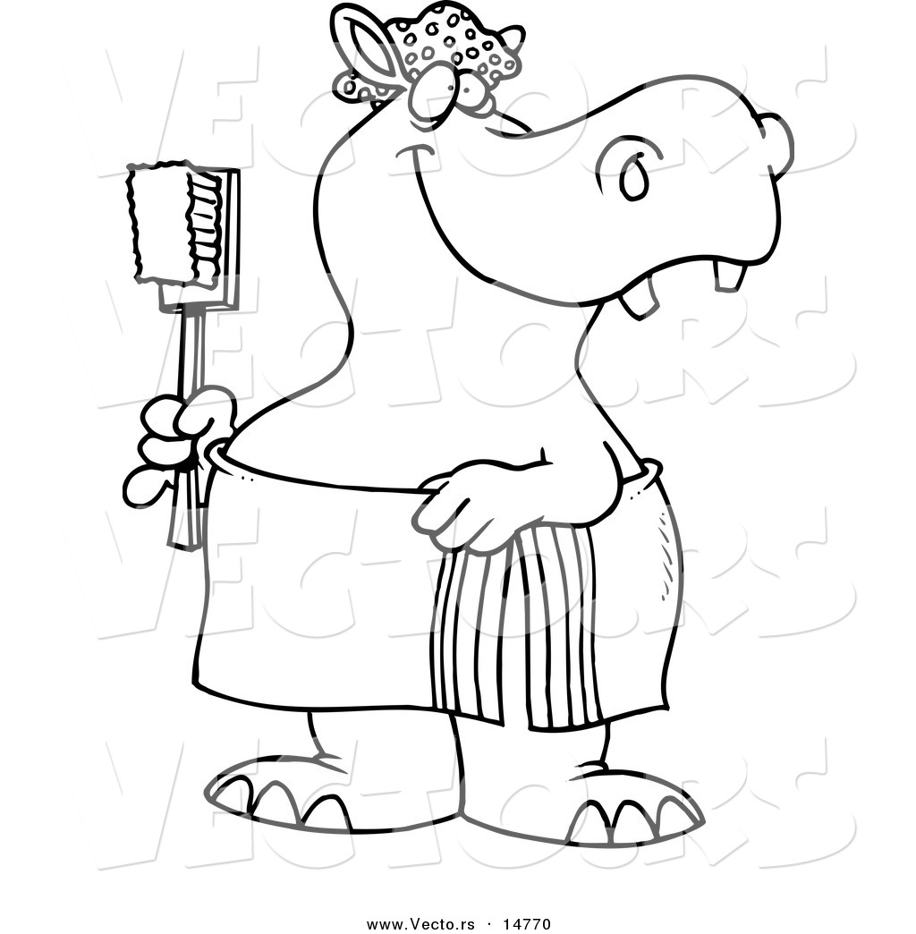 Vector Of A Cartoon Bath Time Hippo In A Towel Holding A Scrub Brush