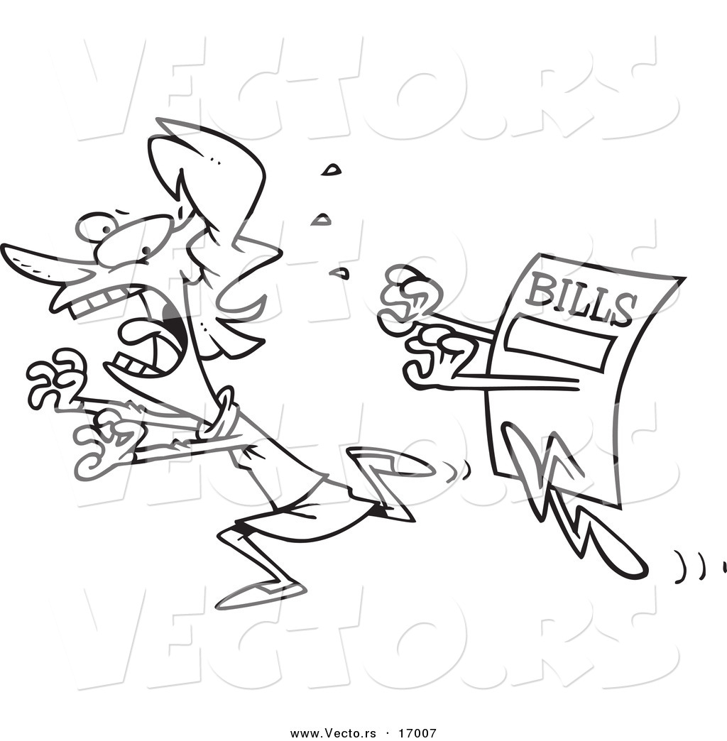 Vector Of A Cartoon Bill Chasing A Woman