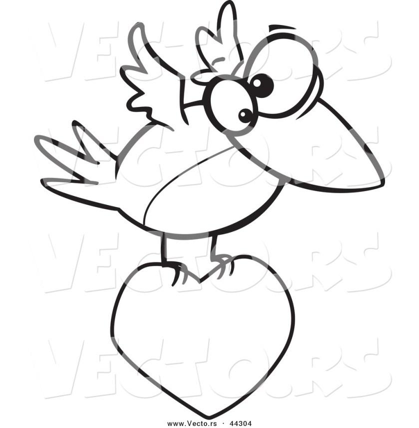 vector of a cartoon bird flying  a love heart